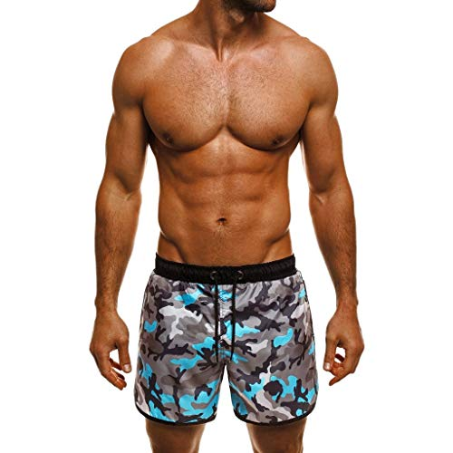 Men Summer Swim Trunks Quick Dry Beach Surfing Running Short Pant Boardshorts with Mesh Lining Pockets (M, Camouflage)