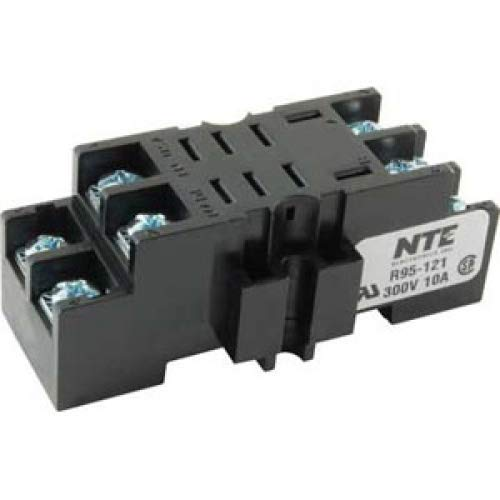 10 Amp NTE Electronics R95-121 8 Pin Midget Blade Socket with Pressure Clamp Screw 300V Panel//Surface Mount