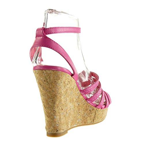 Angkorly - Zapatillas de Moda Sandalias Mules zapatillas de plataforma mujer piel de serpiente multi-correa madera Talón Plataforma 11.5 CM - Fushia