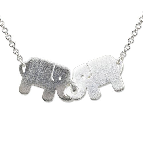 NOVICA .925 Sterling Silver Handmade Animal Themed Pendant Necklace, 17.5