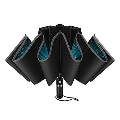 - GBU Inverted Umbrella Folding Reverse Umbrella Windproof UV Protection w/Reflective Stripe - Auto Open Close (Black)