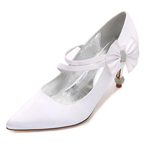 Las Cerrado Shoes 6 Mujeres 17767 Hebilla Satén Altos Zapatos De court Tacones White L yc Boda Plataforma YIUTTq