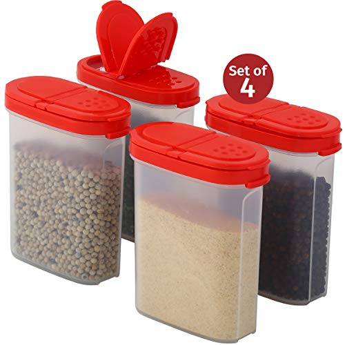Clear Plastic Empty Spice Container Spice Jar with Lid - Kitchen Bottle Dispenser Store Spice, Herb, Rub, Sugar - 2-Way Lids Sift or Pour Shaker-Refillable Airtight Jars- Mini Keepers Red Cap 4 pk.