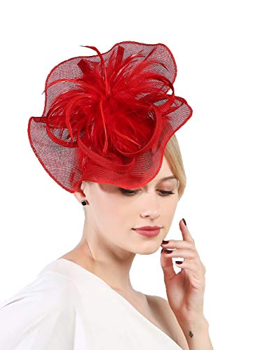 Fascinators for Women Tea Party Hat Kentucky Derby Hat and Flower Mesh Hair Clip and Headband