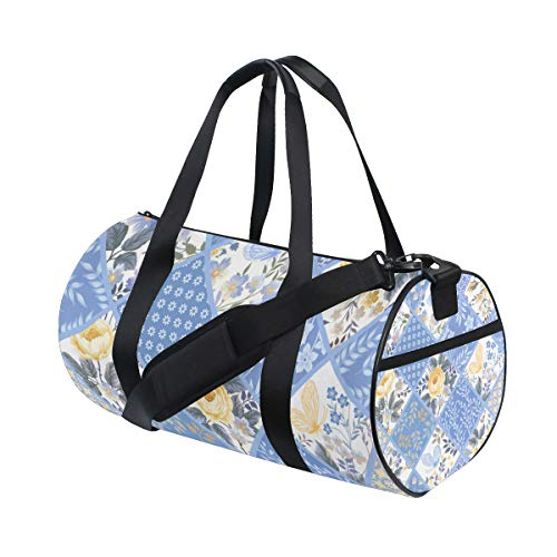 ALLMILL Lightweight Duffle bag Seamless Patchwork Pattern Gym bags Oversize Sports bags weekend Overnight Travel handbag for men women student