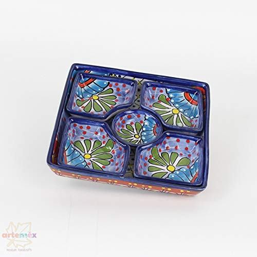 Pottery Snack - Mexican Talavera Botanero - Mexican Pottery - Mexican Dishes - Mexican Plates - Snack Tray - Mexican Kitchen Decor - Design F