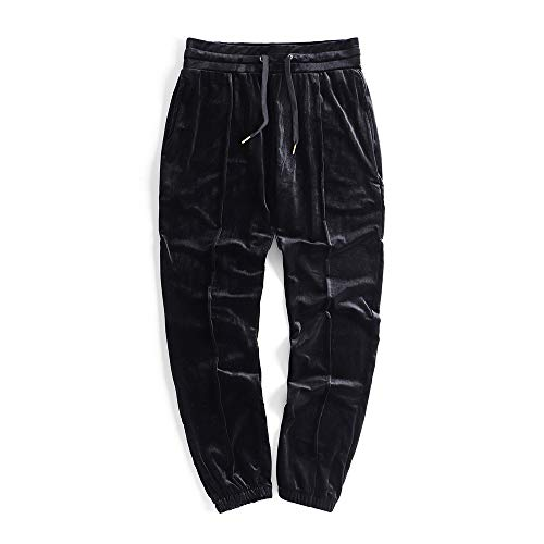 HANGJIA Men's Pants Solid Velour Jogger Sweatpant Casual Loose Velvet Trousers Black M