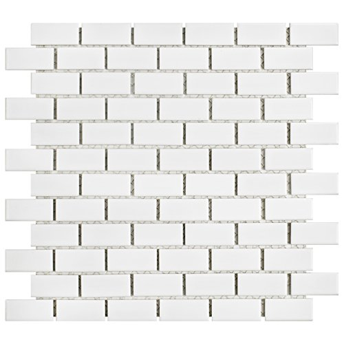 SomerTile FKOVBS11 Marion Subway Porcelain Mosaic Floor and Wall Tile, 11.875'' x 12'', Glossy White by SOMERTILE (Image #12)
