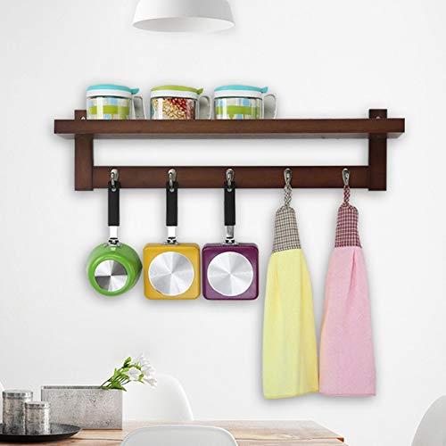 BeesClover Creative Hanging Hook Real Wood Wall Hanger Shelf Kitchen/Bathroom/Livingroom Multi-Purpose Shelf Supporter Storage Holder 4hooks One Size