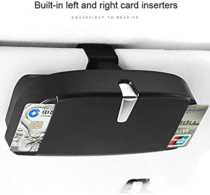 Universal Black ABS Car Sun Visor Sunglasses Box Card Inserters Storage Pockets