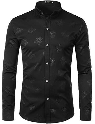 ZEROYAA Mens Hipster Paisley Design Slim Fit Long Sleeve Mandarin Collar Dress Shirts Tops ZZCL05 Black Large