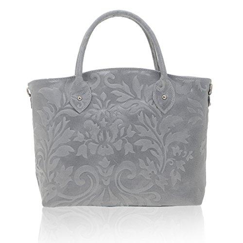 Chicca Borse - Bolso de mujer en cuero auténtico Made in Italy - 35 x 28 x 11 Cm gris