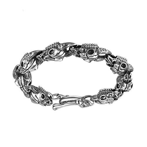 (MetJakt hyperbole skull Sheep head gothic bracelet Solid 925 Sterling Silver Bracelet & Men's Punk Rock Bracelets 8.3 inches )