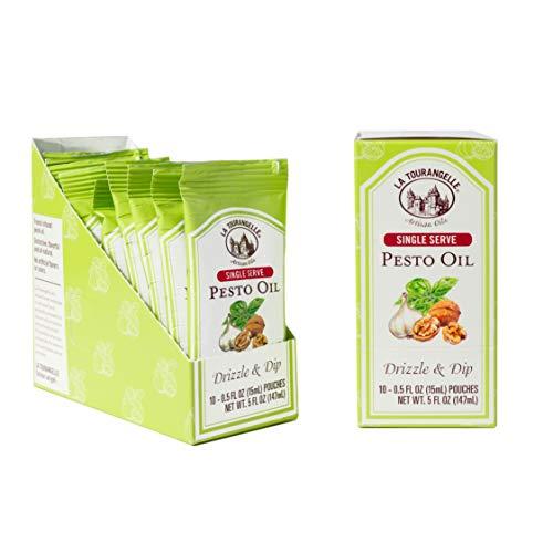 La Tourangelle Pesto Oil Pouches, 0.5 fl. oz., 3-Carton Pack (30 pouches), Convenient Single Serve, Travel Size Oil Packets for On-the-Go, 30 Count