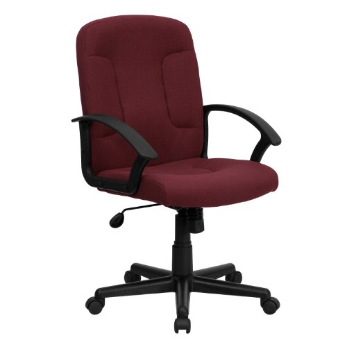 MFO Mid-Back Burgundy Fabric Executive Swivel Office Chair with Nylon Arms