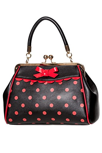 Handbag Top amp; Red Vintage White Thing 50s Crazy Black Rockabilly Bag Little Black amp; Polka Banned Handle vq8Hfv
