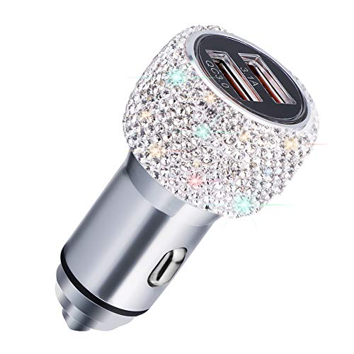 Quick Charge Car Charger, SAVORI Sparkly Dual USB Ports QC3.0 3A Car Adapter Compatible for iPhone Xs Max X Plus, iPad Pro/Mini, Samsung(White)