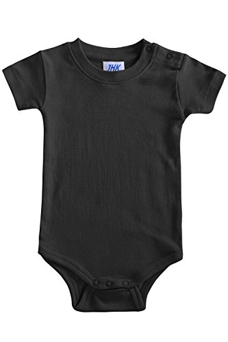 (FRESH TEE Short-Sleeve Baby Bodysuit (3M, Black))