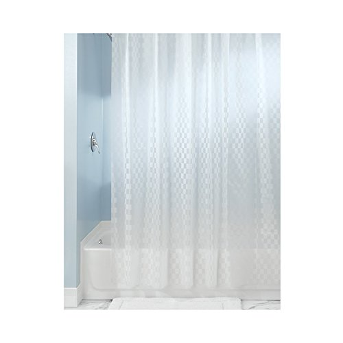 RH Art Mildew Resistant Shower Curtain with 12 Hooks - 72 x 72 inches, White Checkered Design