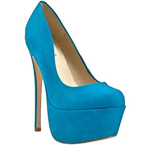 Zigi Girl - Zigi Girl SPYGLASS Womens Suede Leather Platform Pumps in BLUE SUEDE (9, Blue)