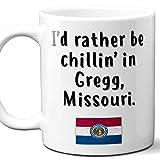 Gregg Missouri Coffee Mug Souvenir Gift.'Chillin In' With MS Flag. 11 Ounces