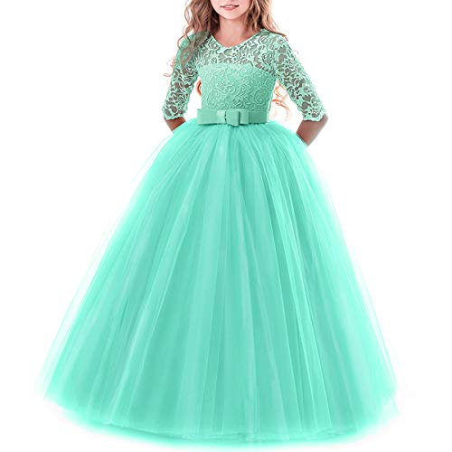 Toddler Girl's Embroidery Tulle Lace Maxi Flower Girl Wedding Bridesmaid Dress 3/4 Sleeve Long A Line Pageant Formal Prom Dance Evening Gowns Casual Holiday Party Dress Turquoise 11-12