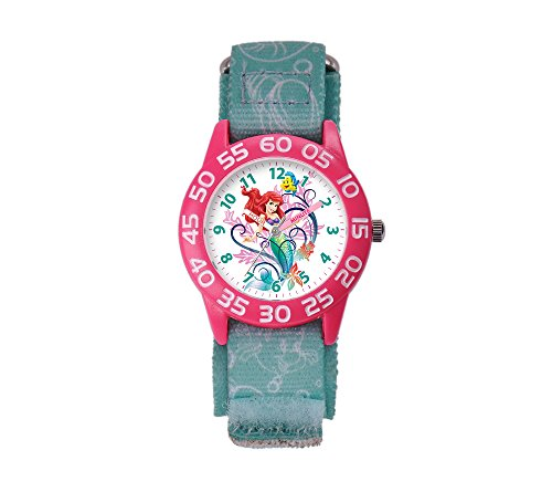 Disney Kids' W001190 Ariel Little Mermaid Time Teacher Watch with Blue Nylon Band