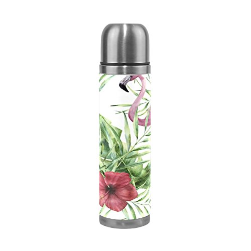 Vacuum Insulated Water Bottle Double Wall Stainless Steel Leak Proof Wide Mouth with Novelty Graphic Fashionable Hand-Painted Flamingos Compact Bottle Beverage (Hand Painted 1 Liter Carafe)