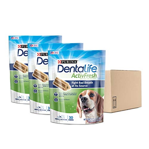 - Purina DentaLife Small/Medium Breed Dog Dental Chews; ActivFresh Daily Oral Care Small/Medium Chews - (3) 30 ct. Pouches
