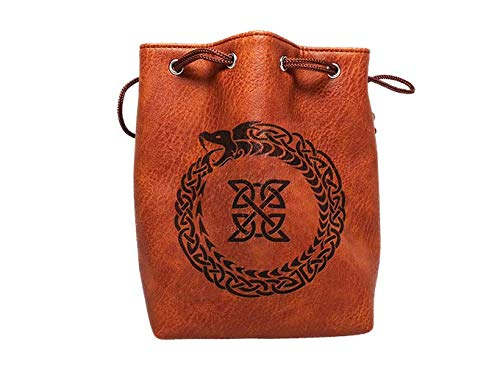 Brown Leather Lite Large Dice Bag Ouroboros Design - Brown Faux Leather Exterior Lined Interior - Stands up on its Own Holds 400 16mm Polyhedral Dice   B07GD6L439