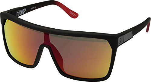 Spy Optic Unisex Flynn Flynn Soft Matte Black/Red Fade/Happy Gray/Green/Red Flash One - Website Sunglasses Spy