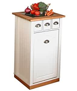 Venture Horizon 4123-11WH Granite Butcher Block Bin Kitchen