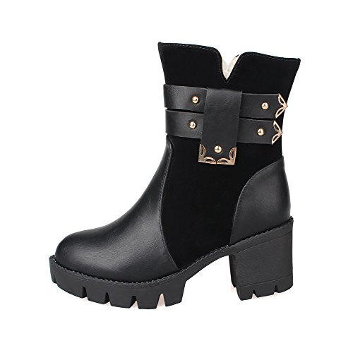 Round Zipper Women's Materials Solid Closed Blend Boots Black Allhqfashion Toe Kitten Heels 5qw0YndnOx