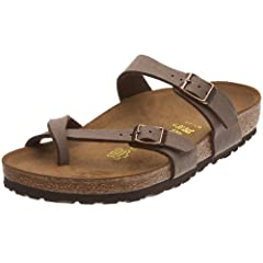 Elegance and comfort are a perfect match in the Mayari. This popular Birkenstock sandal has an adjustable toe loop design that's available in a variety of colors and materials.