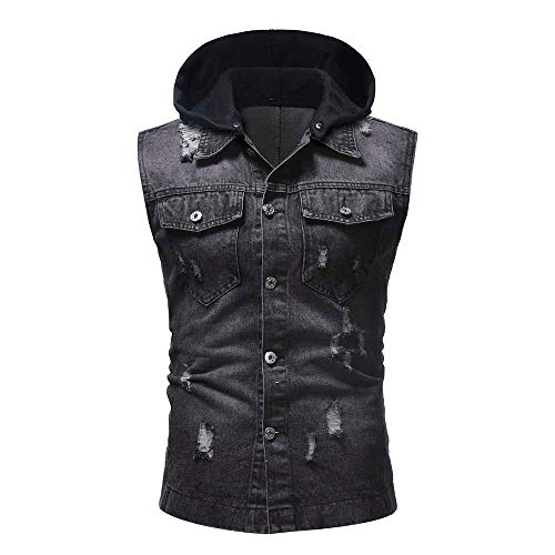 - Men's Destroyed Hoodie Jacket Vest AmyDong Vintage Denim Waistcoat Blouse Tops(Black,L)