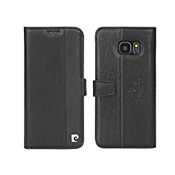 Pierre Cardin Genuine Leather Wallet S Galaxy S7 Edge Case with Foldable Cover and Kickstand Feature for Samsung Galaxy S7 Edge (Black)