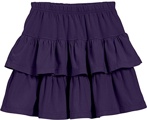 City Threads Big Girls' Cotton Jersey Layered Tiered Skirt For School, Party or Play Perfect For Sensitive Skin and Sensory Friendly SPD, Purple, -