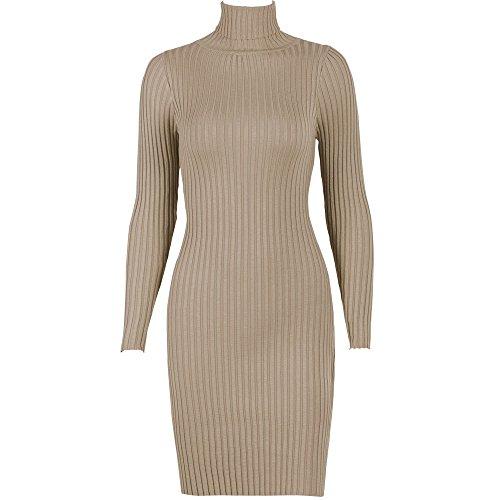 Yoana Baraschi Lace (Women Sleeved Knit Backing Slim Package Hip Dress Fit Sweater Dress (Khaki))