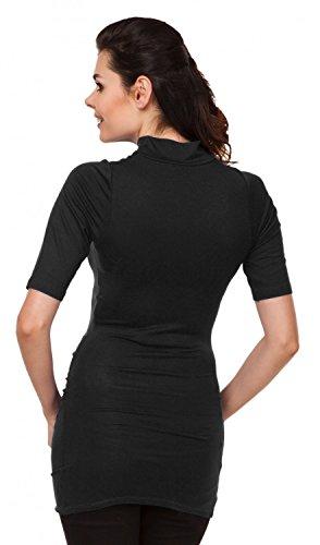 Zeta Ville - Camiseta Premamá T-shirt Media Manga Top Cuello Alto - mujer - 985c Negro