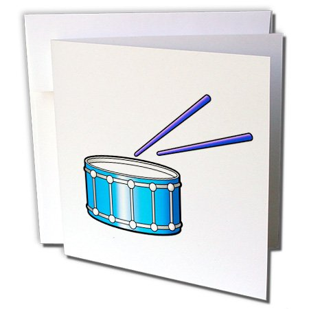 (3dRose Susans Zoo Crew Music - blue snare graphic with sticks - 1 Greeting Card with envelope (gc_164230_5))