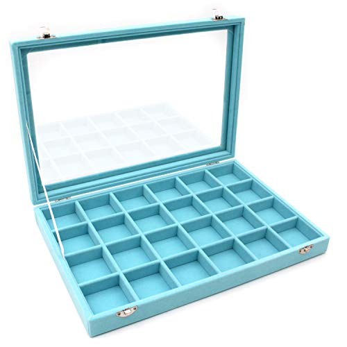 KLOUD City Jewelry Tray Box Showcase Display Storage Rings Earrings Necklaces Bracelet Broochs Organizer Removable Stackable Velvet Clear Lid with Lock (Light Blue 24 Grid)