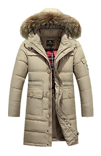 Lingswallow Men's Winter Thicken Khaki Faux Fur Hooded Long Down Jacket Coat by Lingswallow (Image #1)