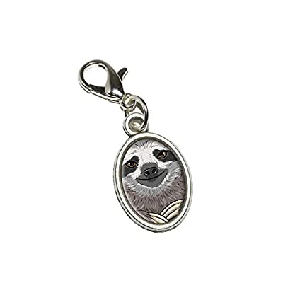 Graphics And More Sloth Face Antiqued Bracelet Pendant Zipper Pull Oval Charm With Lobster Clasp - Graphics And More