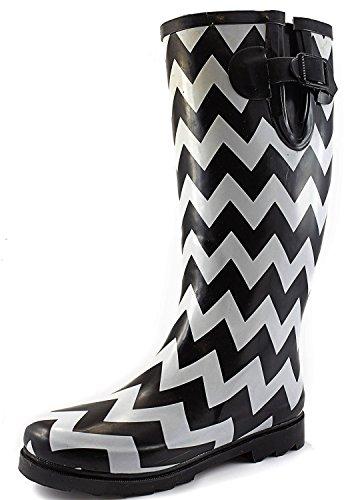 Women's Puddles Rain and Snow Boot Multi Color Mid Calf Knee High Rainboots,BlkWht Chevron 7 B(M) US