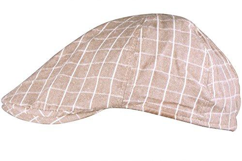 JIERKU plaid driving cap mens ivy hats vintage newsboy cap ivy cap for men Tan Plaid