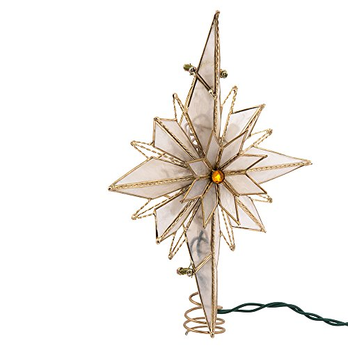 Kurt Adler 10-Light 10-Inch Capiz Classical Multi-Pointed Bethlehem Star Treetop (Light Tree Topper)