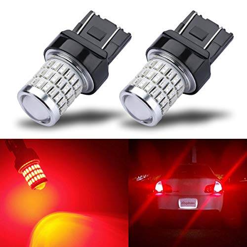 iBrightstar Newest 9-30V Super Bright Low Power Dual Brightness 7440 7443 T20 LED Bulbs with Projector replacement for Tail Brake Lights, Brilliant - Red Bright Led Bulb Replacement