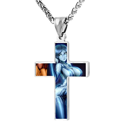 Kenlove87 Patriotic Cross Bastila Shan And Cortana Religious Lord'S Zinc Jewelry Pendant Necklace