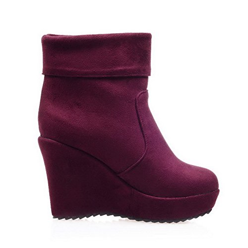 AllhqFashion Round Imitated Heels Solid Suede Closed Boots High Claret Womens On Pull Toe rIxTrBqSZw