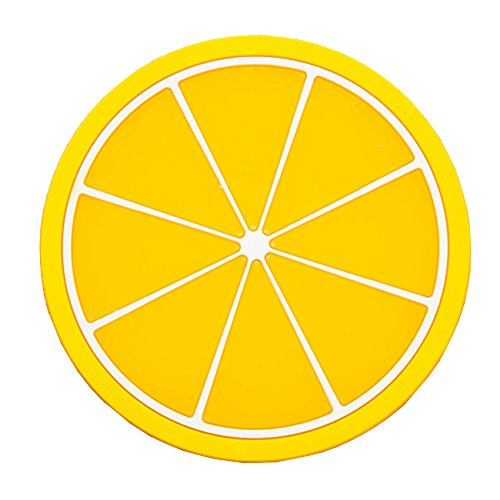 Fan-Ling 1x Fruit Colorful Silicone Coaster,Tea Cup Drinks Mats Pad Insulation Placemat Tableware Placemat,Environmental,Health,Insulation Performance, Non-Slip (yellow2)